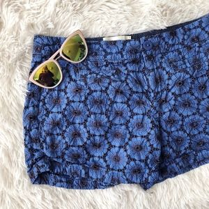 ANTHROPOLOGIE blue floral eyelet summer shorts